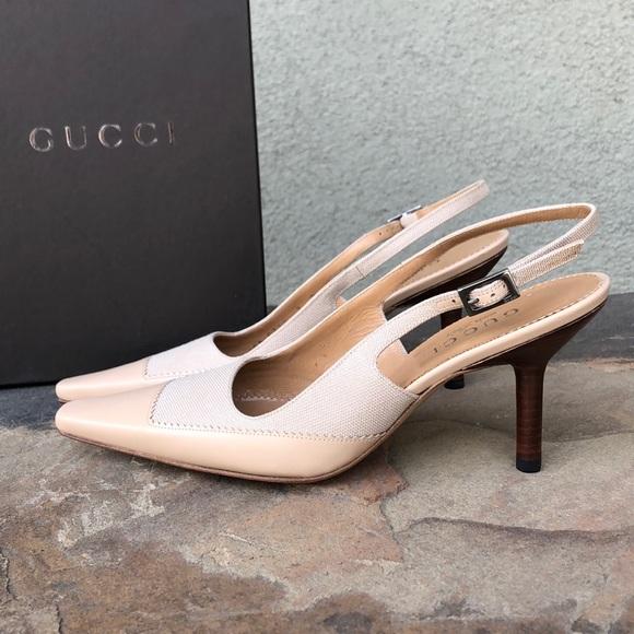 New Gucci Vintage Nude Slingback Heels